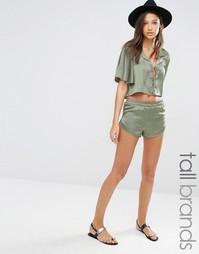 Атласные шорты на шнурке Glamorous Tall Co-Ord - Хаки