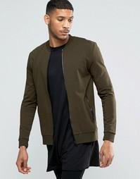 Трикотажная зауженная куртка‑пилот цвета хаки ASOS - Охотничий зеленый