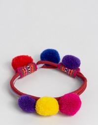 Reclaimed Vintage Bright Pom Pom Bracelet - Мульти