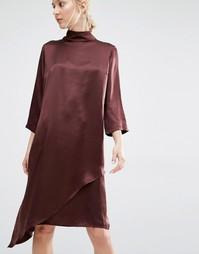 Шелковое платье с высоким воротом и сорочкой Gestuz - Красный