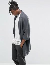 Черный выбеленный кардиган‑кимоно в стиле casual ASOS - Черный
