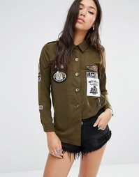 Boohoo Utility Badge Shirt - Зеленый