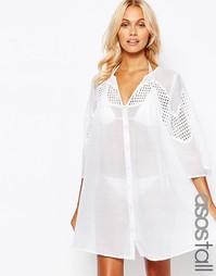 Пляжное платье на пуговицах с кружевом и V-образным вырезом ASOS TALL