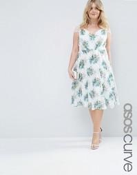 Кружевное платье миди с цветочным принтом ASOS CURVE Kate