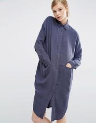 Платье-рубашка с карманами по бокам Paisie - Голубой джинсовый