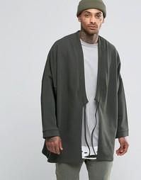 ASOS Longline Kimono With Tie Front - Хаки