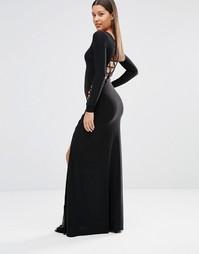 Платье макси с длинными рукавами и решеткой из лямок Club L - Черный