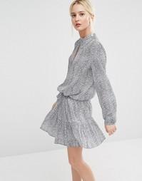 Платье с принтом и юбкой-колокол Gestuz - Синий