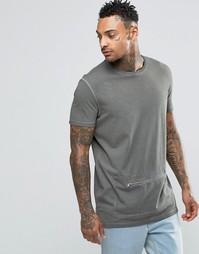 Удлиненная футболка с молнией спереди ASOS - Хаки