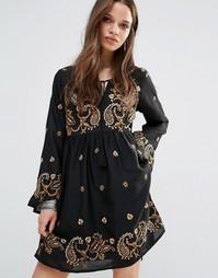 Приталенное платье с длинными рукавами и вышивкой пейсли Glamorous Pet