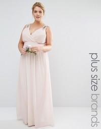 Платье макси с запахом и отделкой Tfnc Plus Wedding - Розовый