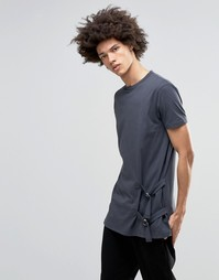 ASOS Super Longline T-Shirt With Tie Side Fastening And D Rings