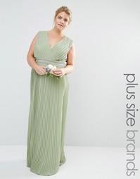 Платье макси с запахом, отделкой и плиссировкой Tfnc Plus Wedding