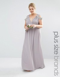 Платье макси с открытыми плечами и запахом Tfnc Plus Wedding - Серый