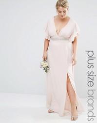 Платье макси с отделкой на талии и расклешенными рукавами Tfnc Plus We