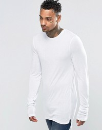 ASOS Fine Rib Super Longline Muscle Long Sleeve T-Shirt With Stacked S