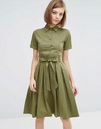 Платье-рубашка миди Lost Ink - Хаки