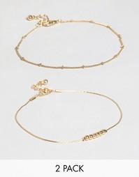 Набор из 2 браслетов на щиколотку с подвесками ASOS - Золотой