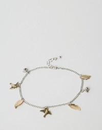 Ножной браслет с подвесками-листочками ASOS - Смешанные металлы