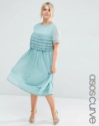 Платье миди для выпускного ASOS CURVE SALON - Зеленый