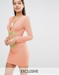 Облегающее платье с золотистой отделкой Rare London - Телесный