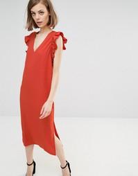 Платье миди с рукавами рюшами Lost Ink - Оранжевый