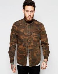 Камуфляжная рубашка в стиле милитари с длинными рукавами и двумя карма Asos