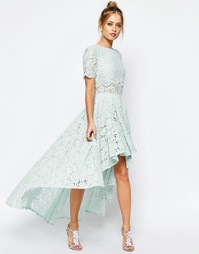 Кружевное платье миди для выпускного ASOS SALON - Мятный