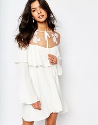 Платье мини с вышивкой For Love and Lemons Elenora - Белый
