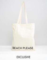 Сумка-тоут с надписью Beach Please Reclaimed Vintage - Бежевый