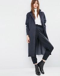 Oversize-пальто с необработанными краями ASOS - Синий