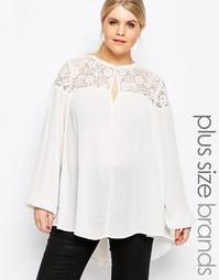 Блузка с кружевной вставкой Carmakoma - Кремовый