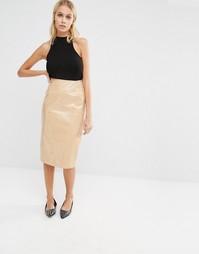 Лакированная юбка миди Fashion Union - Кэмел