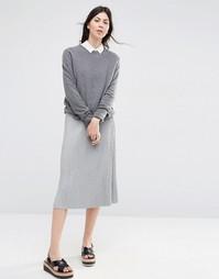 Плиссированная трикотажная юбка миди ASOS - Серый