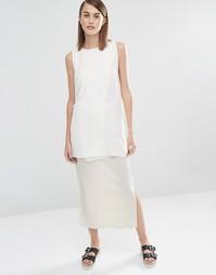 Эластичная юбка макси со складками Selected Keba - Кремовый