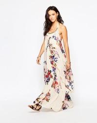 Платье макси с цветочным принтом и завязкой на шее Raga Feeling