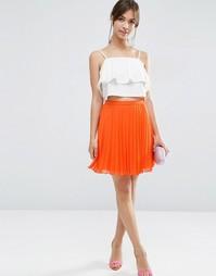 Плиссированная мини-юбка ASOS - Оранжевый