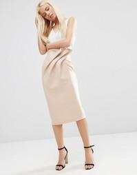 Фактурная юбка-карандаш с мешковатым поясом ASOS - Neutral