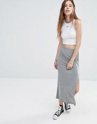 Длинная юбка с молнией сбоку Noisy May - Светло-серый меланж