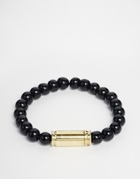 Черный браслет с бусинами из оникса и трубочкой Lovebullets - Черный