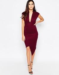 Асимметричное платье с глубоким вырезом Liquorish - Wine