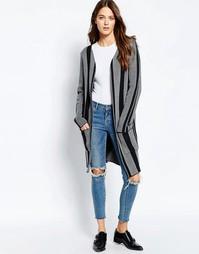 Длинный жакет с широкими полосками и карманами Ichi - Черный