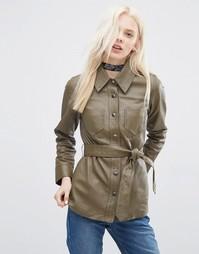 Кожаная куртка с поясом и декоративной строчкой ASOS - Хаки