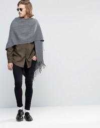 Серый шарф‑накидка из меланжевой ткани ASOS - Серый меланж