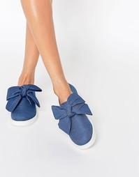 Туфли на плоской подошве с бантиком ASOS MINNIE - Деним