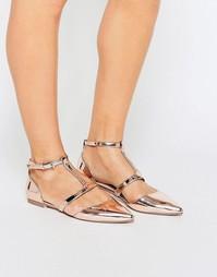 Балетки с острым носком ASOS LETTY - Телесный металлик