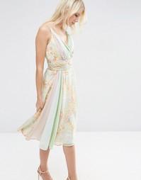 Мягкое цветочное платье миди в стиле колор блок ASOS - Мульти