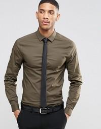 Рубашка цвета хаки с длинными рукавами и черный галстук ASOS - СКИДКА