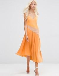 Платье миди со вставками колор блок ASOS - Оранжевый