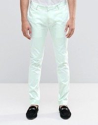 ASOS Superskinny Trouser In Pale Blue Cotton Sateen - Бледно-синий